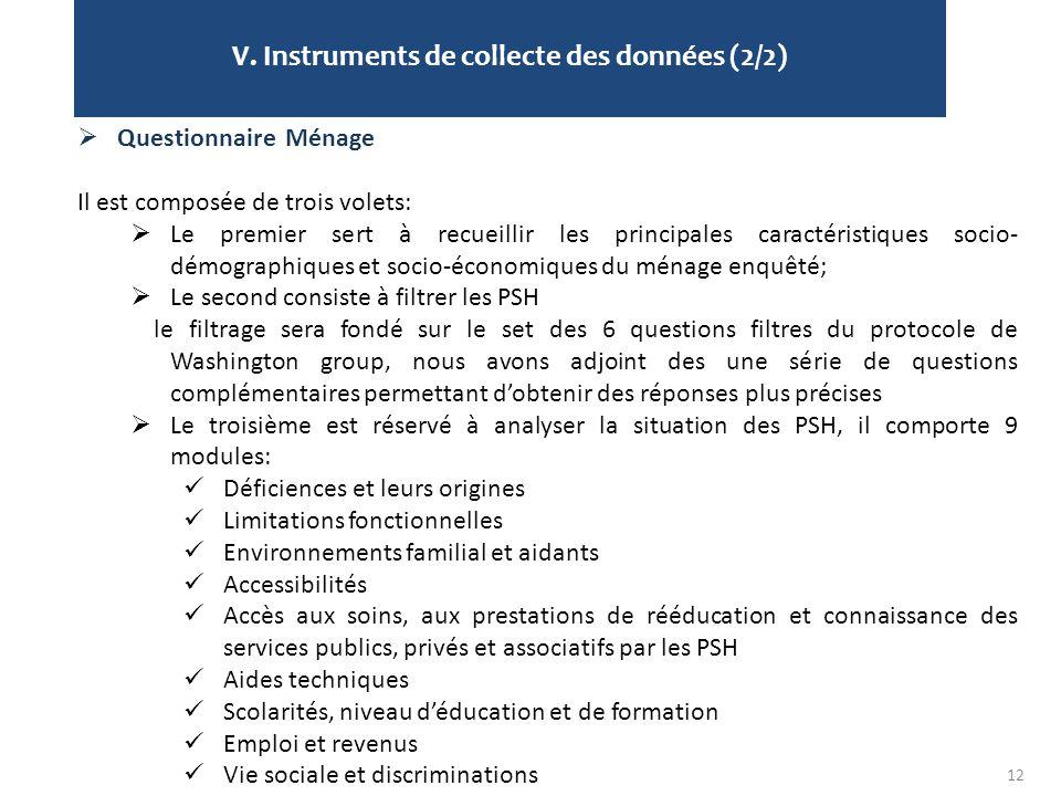 V. Instruments de collecte des données (2/2)