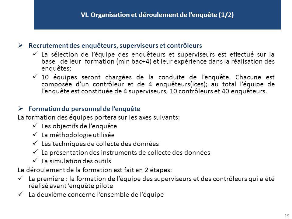 VI. Organisation et déroulement de l'enquête (1/2)
