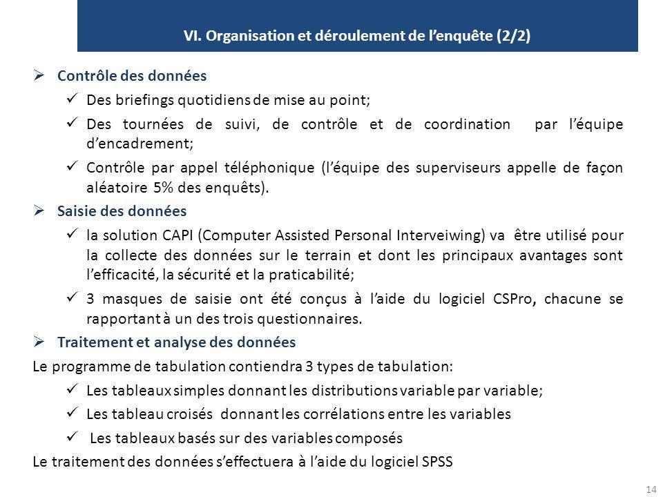 VI. Organisation et déroulement de l'enquête (2/2)