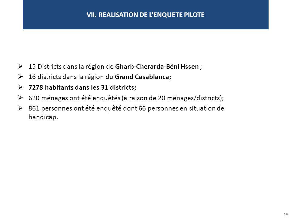VII. REALISATION DE L'ENQUETE PILOTE
