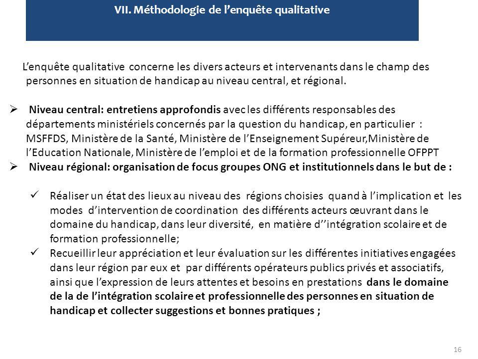 VII. Méthodologie de l'enquête qualitative