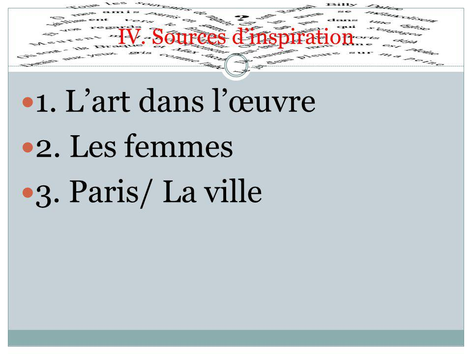 IV. Sources d'inspiration