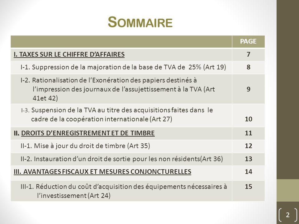 Sommaire PAGE I. TAXES SUR LE CHIFFRE D'AFFAIRES 7