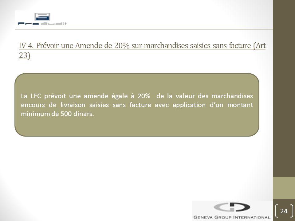 IV-4. Prévoir une Amende de 20% sur marchandises saisies sans facture (Art 23)