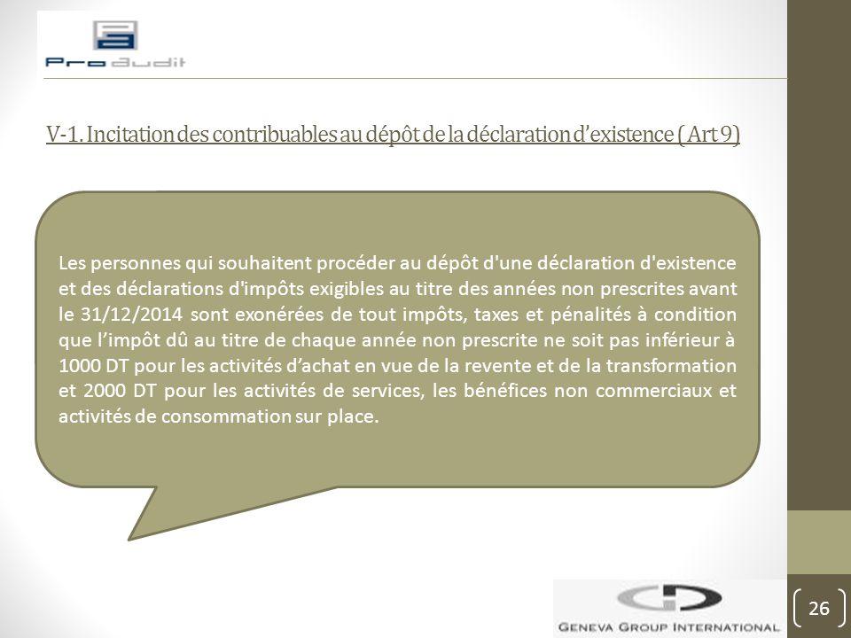 V-1. Incitation des contribuables au dépôt de la déclaration d'existence ( Art 9)