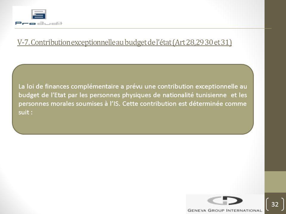 V-7. Contribution exceptionnelle au budget de l'état (Art 28,29 30 et 31)