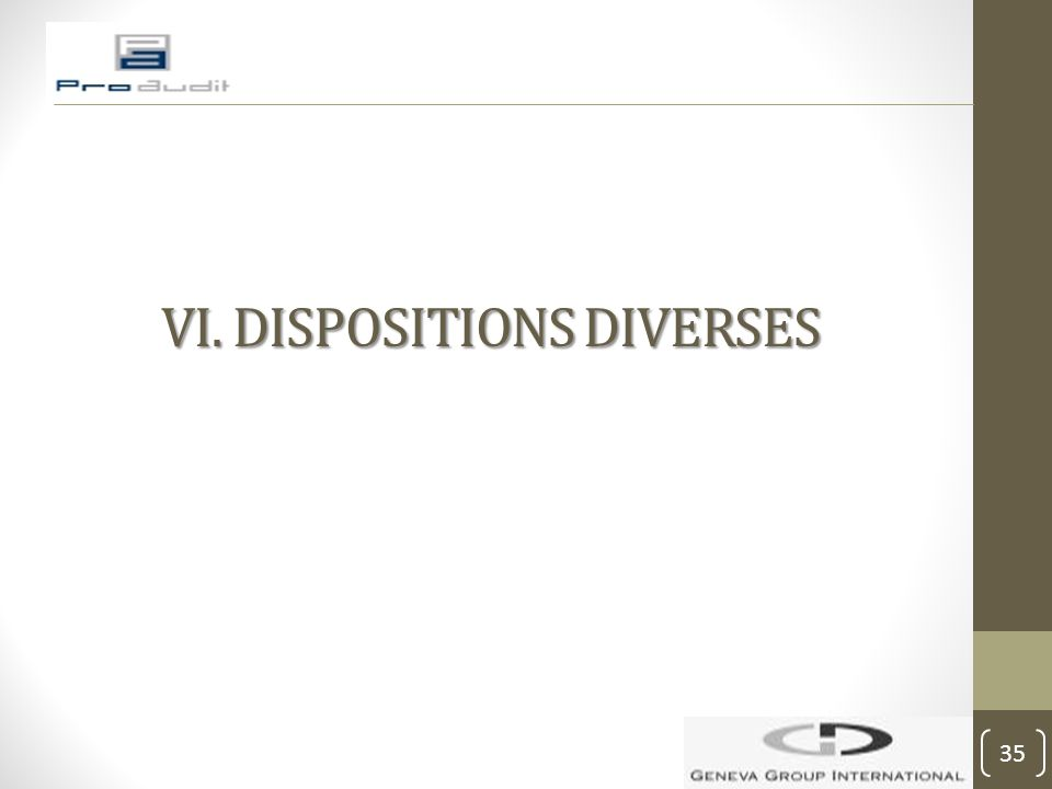VI. DISPOSITIONS DIVERSES