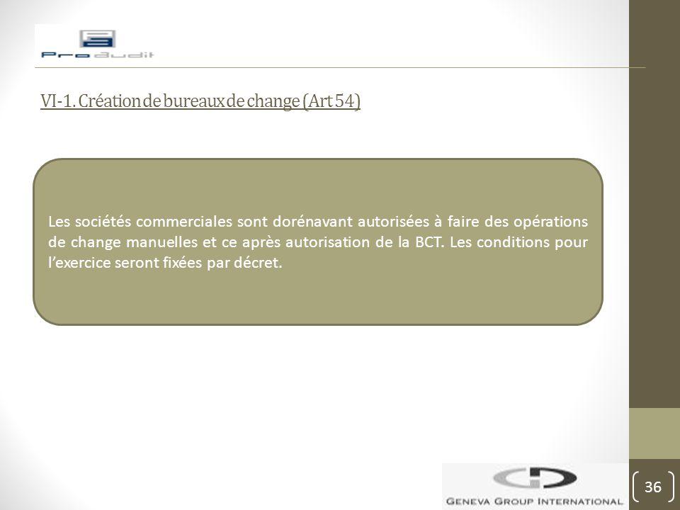 VI-1. Création de bureaux de change (Art 54)