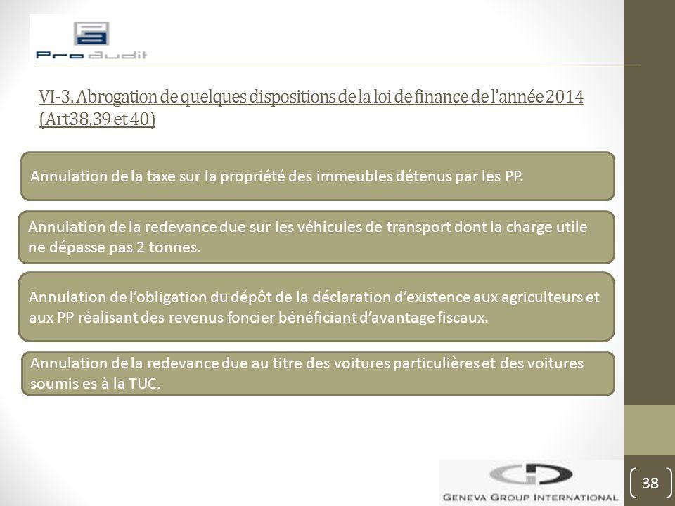 VI-3. Abrogation de quelques dispositions de la loi de finance de l'année 2014 (Art38,39 et 40)