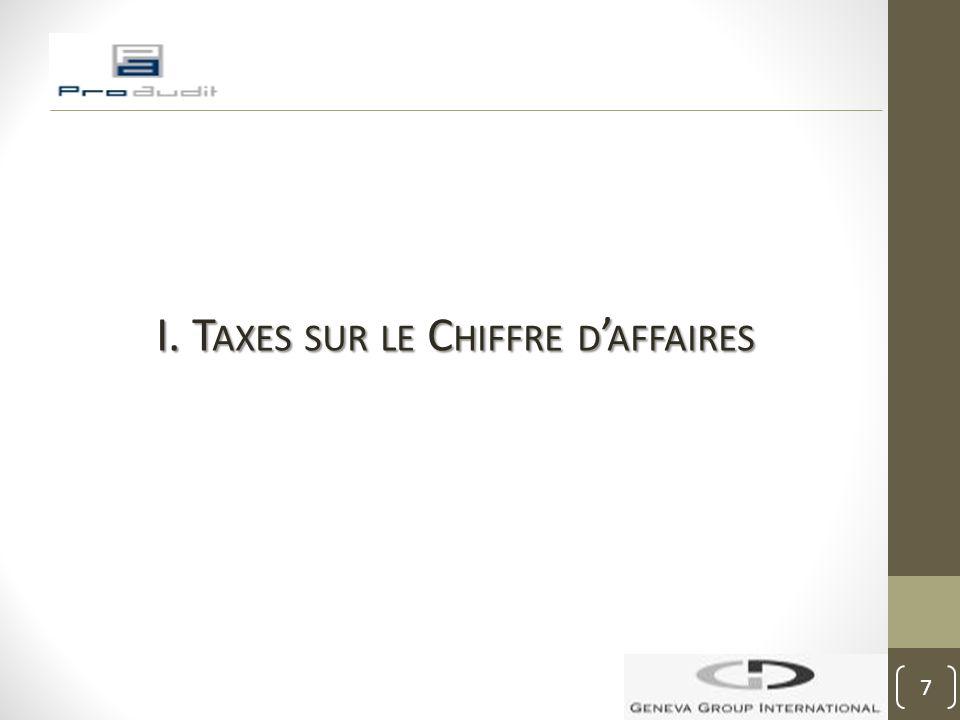 I. Taxes sur le Chiffre d'affaires