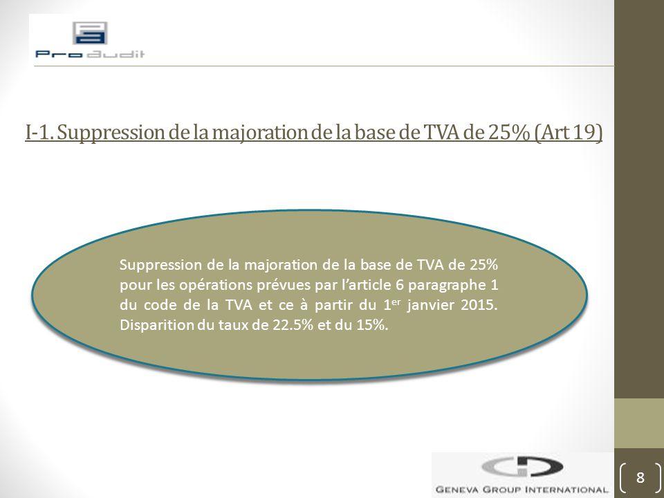 I-1. Suppression de la majoration de la base de TVA de 25% (Art 19)