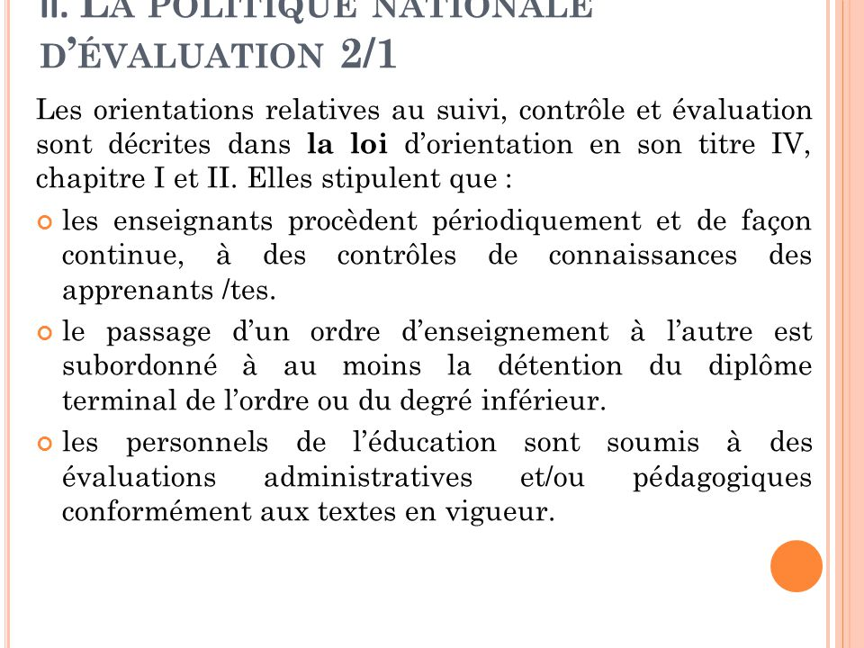 II. La politique nationale d'évaluation 2/1