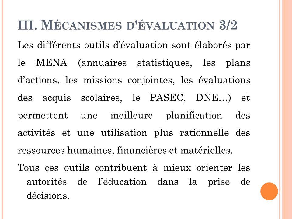 III. Mécanismes d évaluation 3/2