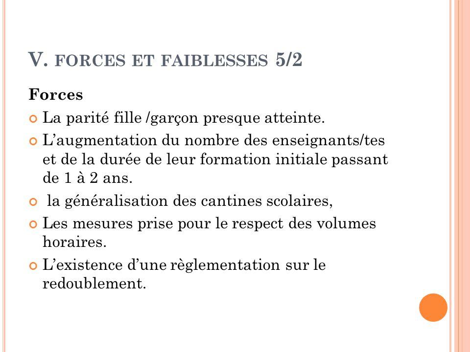 V. forces et faiblesses 5/2