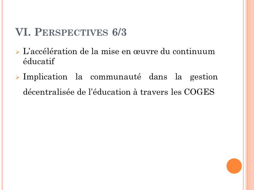 VI. Perspectives 6/3 L'accélération de la mise en œuvre du continuum éducatif.