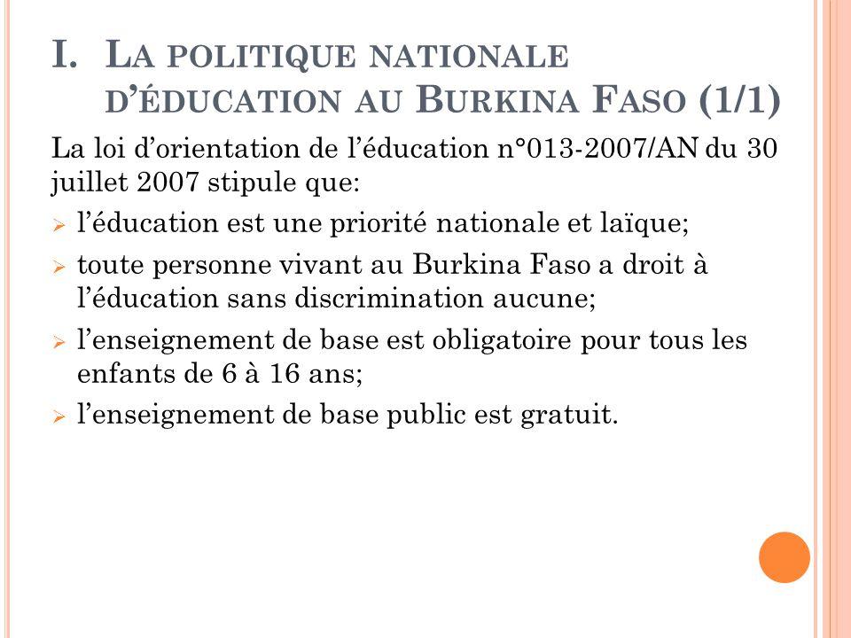 La politique nationale d'éducation au Burkina Faso (1/1)