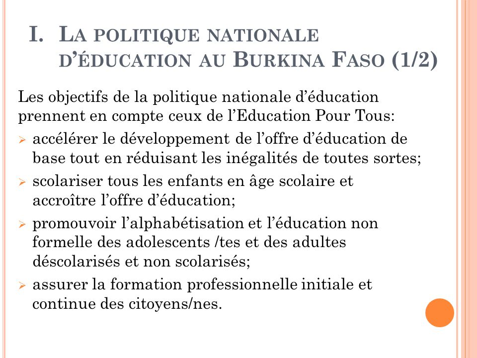 La politique nationale d'éducation au Burkina Faso (1/2)