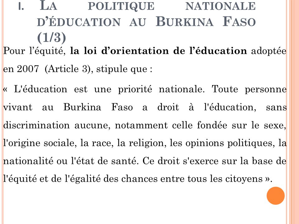 La politique nationale d'éducation au Burkina Faso (1/3)