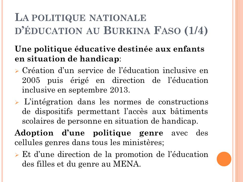 La politique nationale d'éducation au Burkina Faso (1/4)