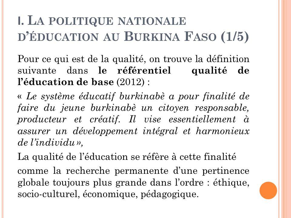 I. La politique nationale d'éducation au Burkina Faso (1/5)