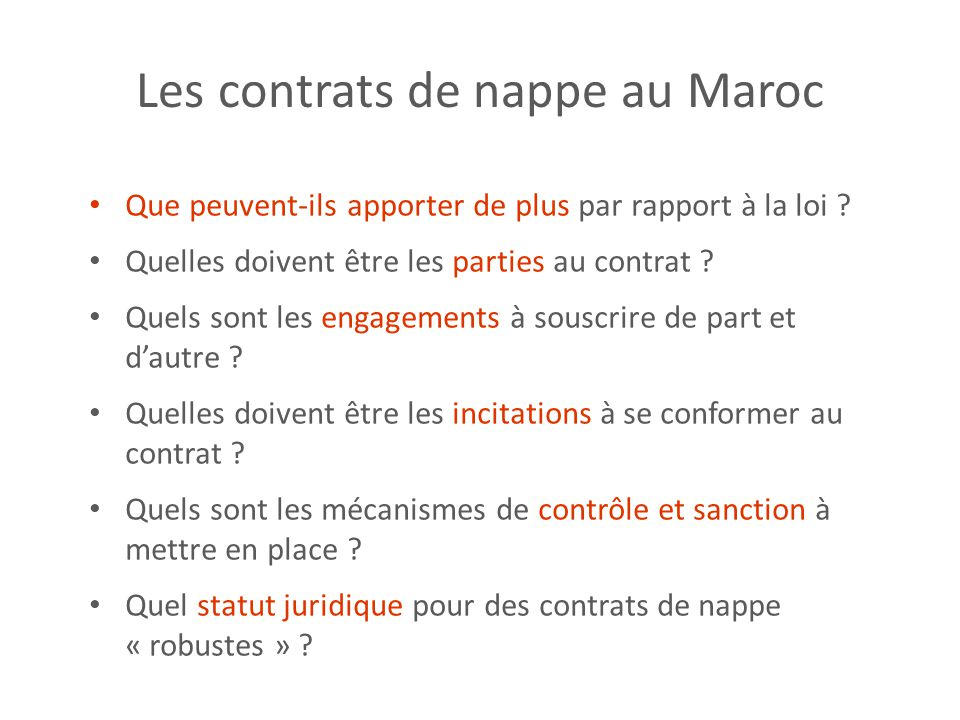 Les contrats de nappe au Maroc