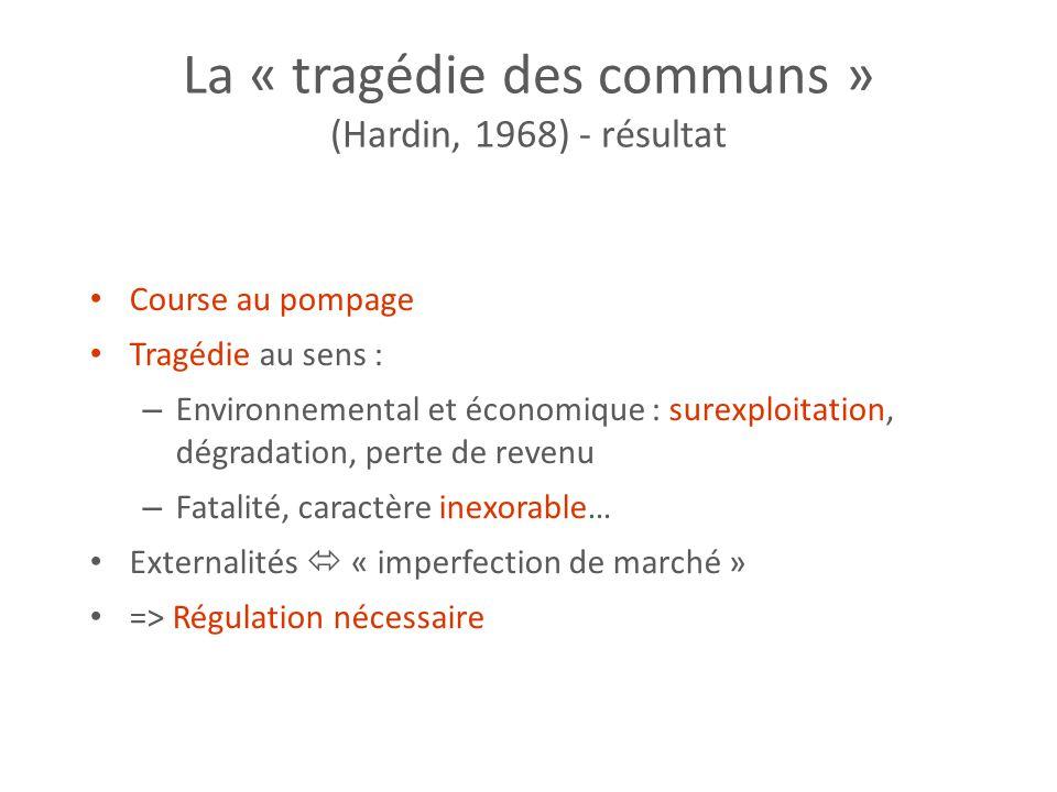 La « tragédie des communs » (Hardin, 1968) - résultat