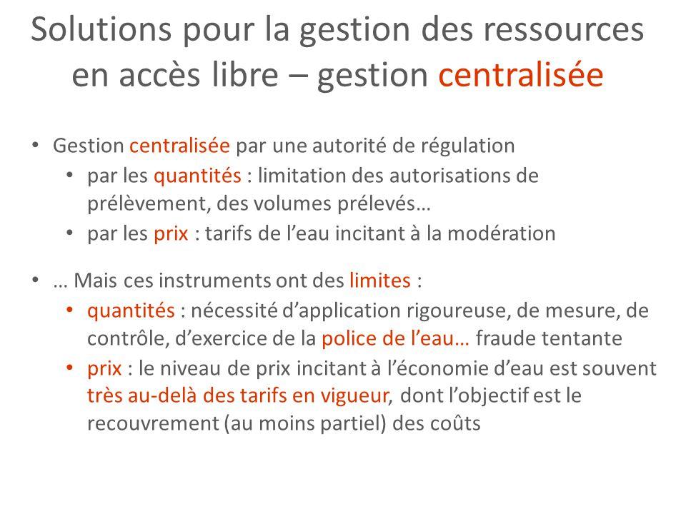 Solutions pour la gestion des ressources en accès libre – gestion centralisée