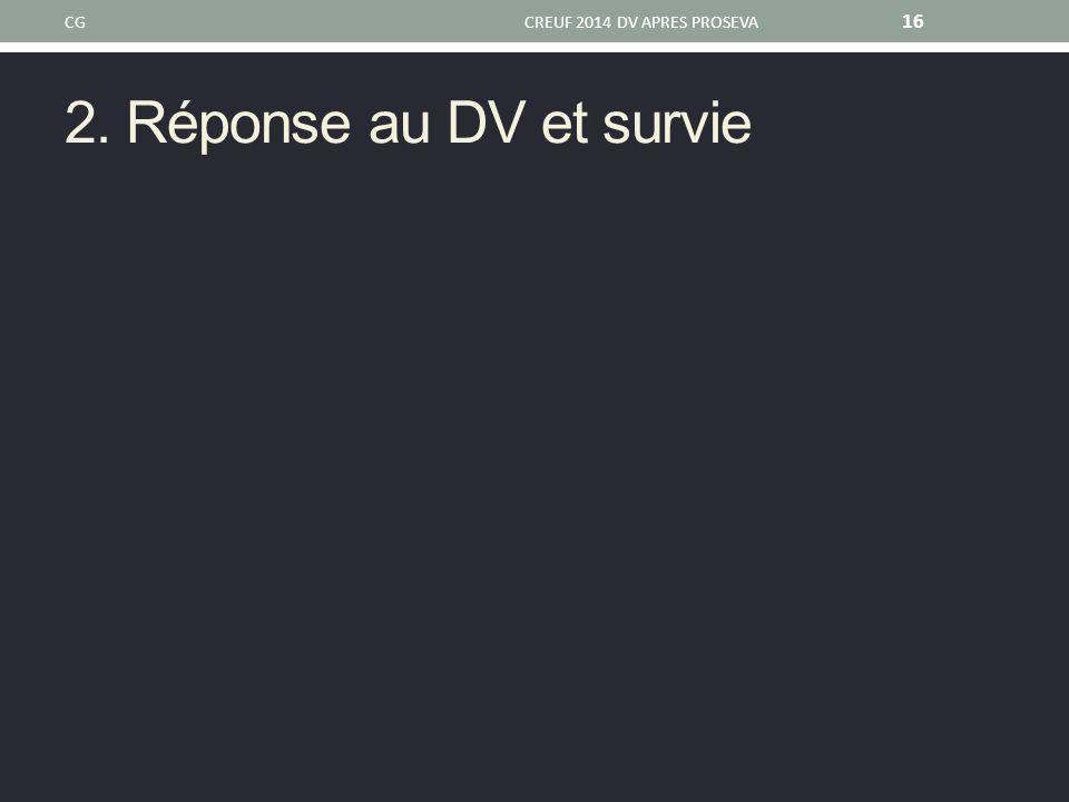 CG CREUF 2014 DV APRES PROSEVA 2. Réponse au DV et survie