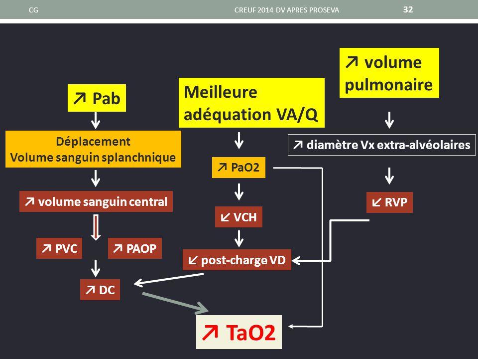 Volume sanguin splanchnique ↗ diamètre Vx extra-alvéolaires