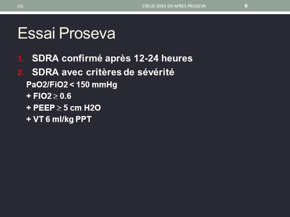 Essai Proseva SDRA confirmé après 12-24 heures