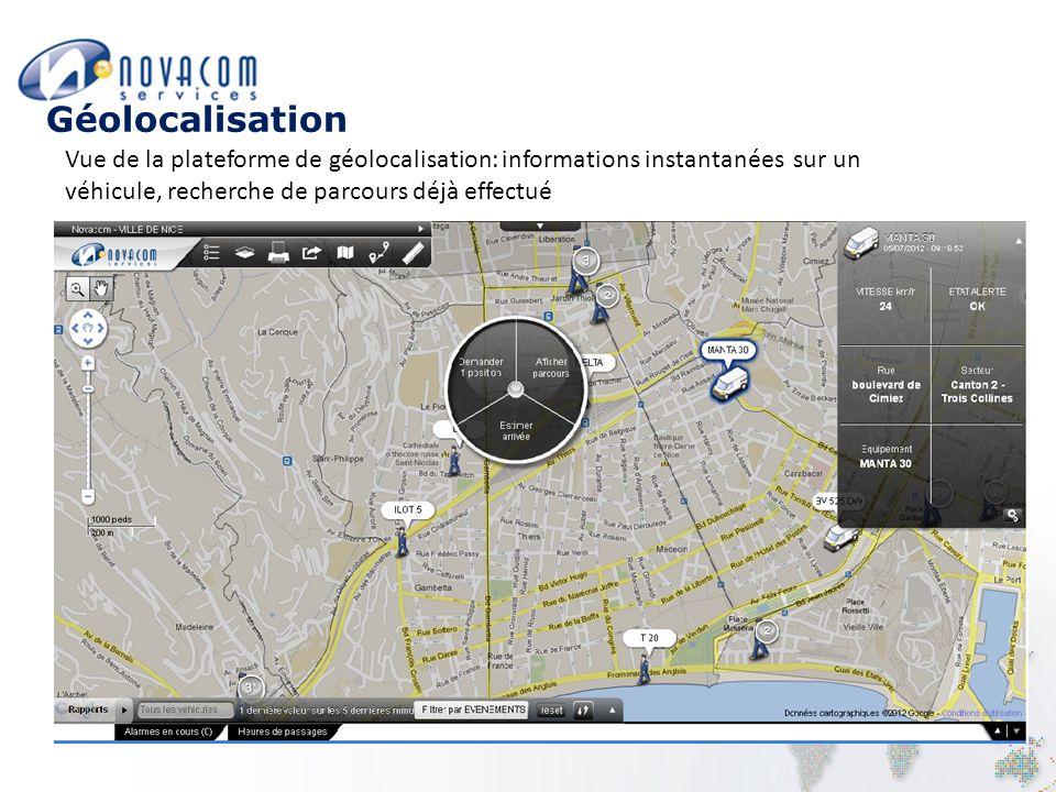 Géolocalisation Vue de la plateforme de géolocalisation: informations instantanées sur un véhicule, recherche de parcours déjà effectué.