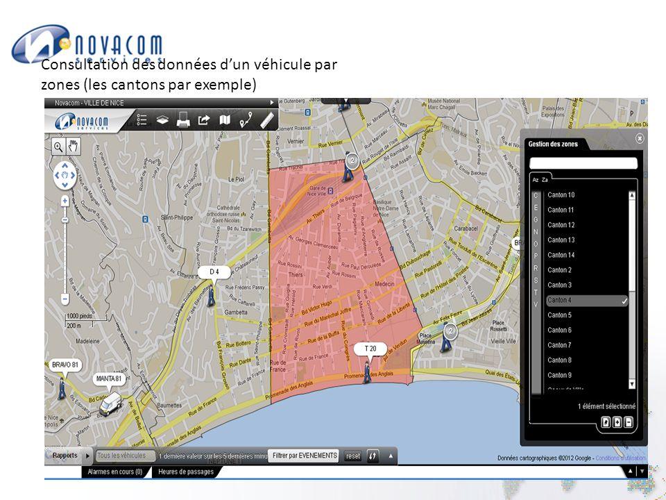 Consultation des données d'un véhicule par zones (les cantons par exemple)