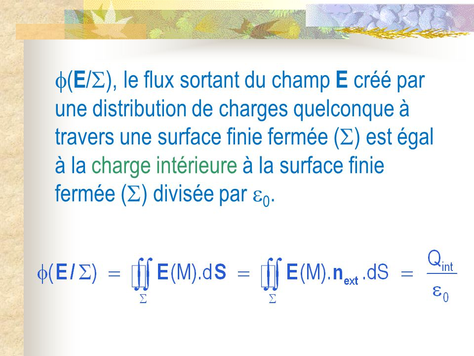 (E/), le flux sortant du champ E créé par une distribution de charges quelconque à travers une surface finie fermée () est égal à la charge intérieure à la surface finie fermée () divisée par 0.