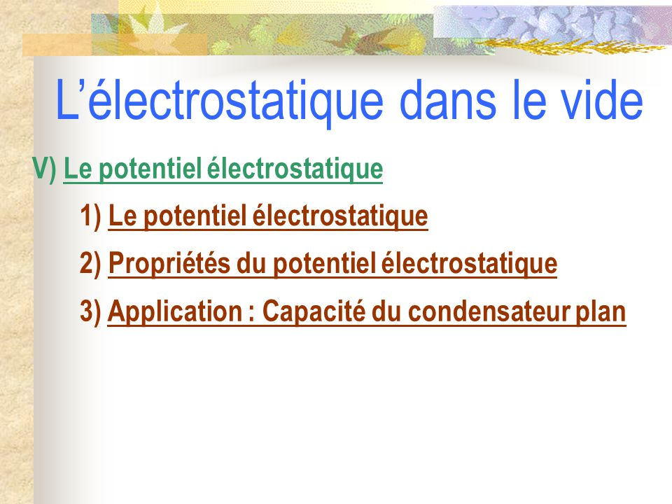 L'électrostatique dans le vide