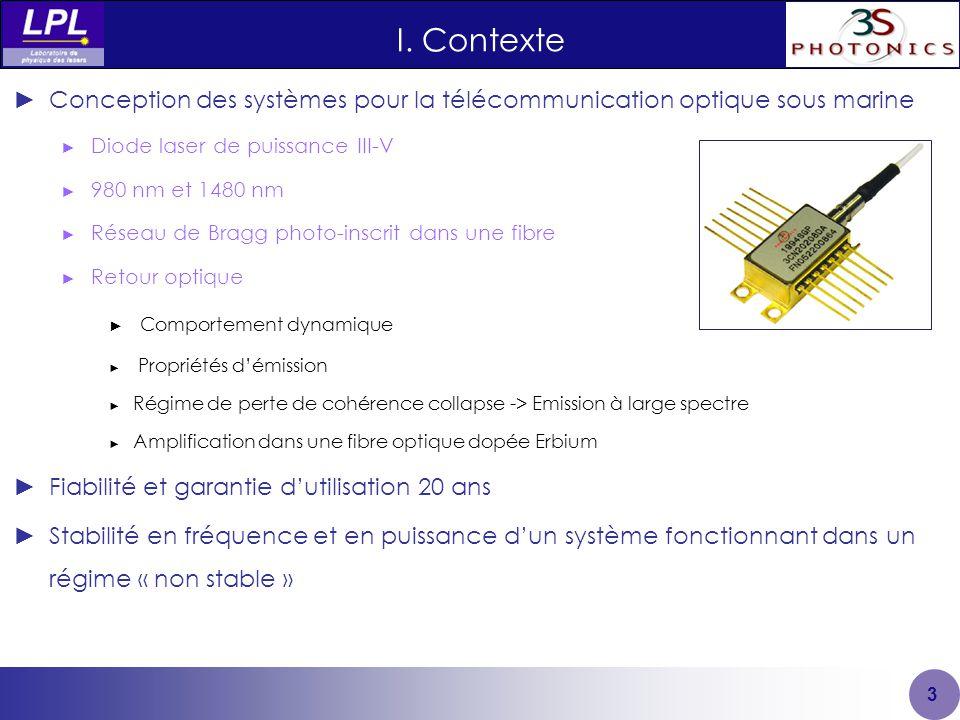 I. Contexte Conception des systèmes pour la télécommunication optique sous marine. Diode laser de puissance III-V.
