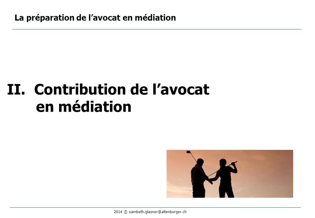 Contribution de l'avocat en médiation