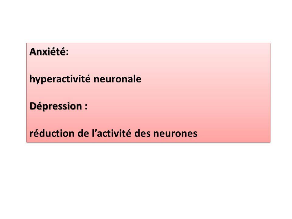 Anxiété: hyperactivité neuronale Dépression : réduction de l'activité des neurones