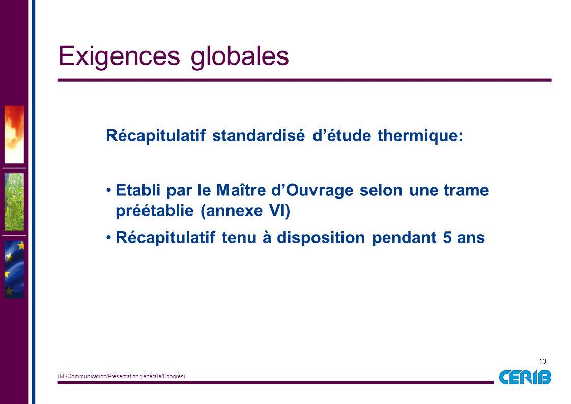 Exigences globales Récapitulatif standardisé d'étude thermique: