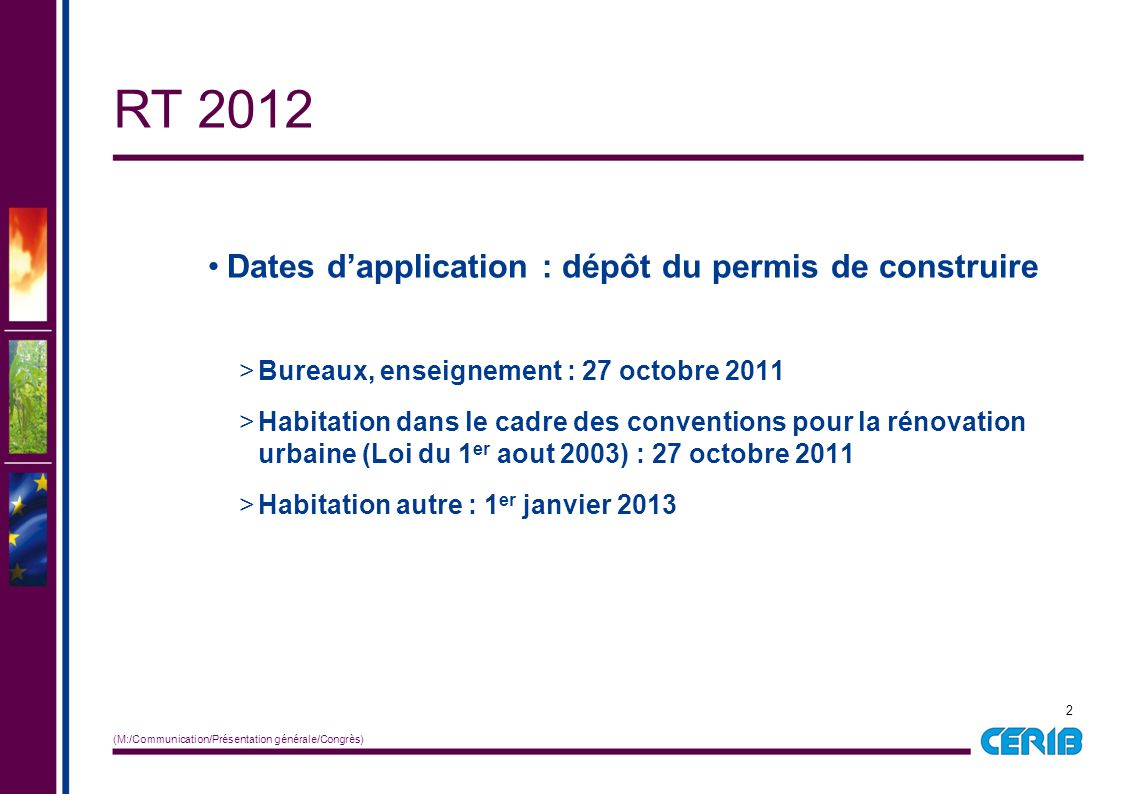 Rt 2012 r glementation 2012 d cret du 26 octobre ppt video Rt 2012 renovation