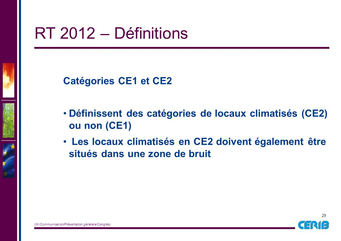 RT 2012 – Définitions Catégories CE1 et CE2