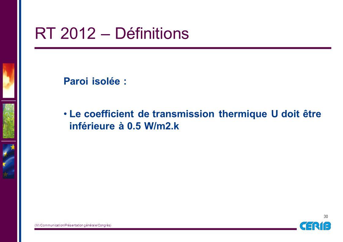 RT 2012 – Définitions Paroi isolée :