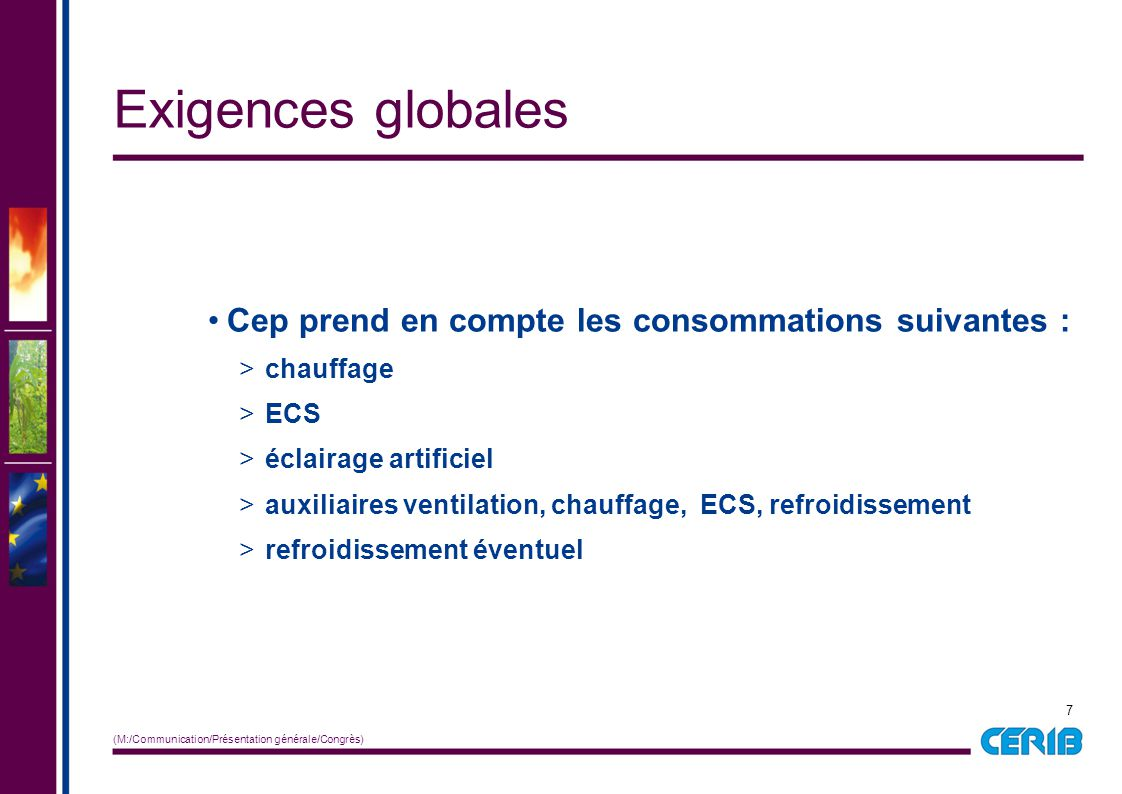 Exigences globales Cep prend en compte les consommations suivantes :