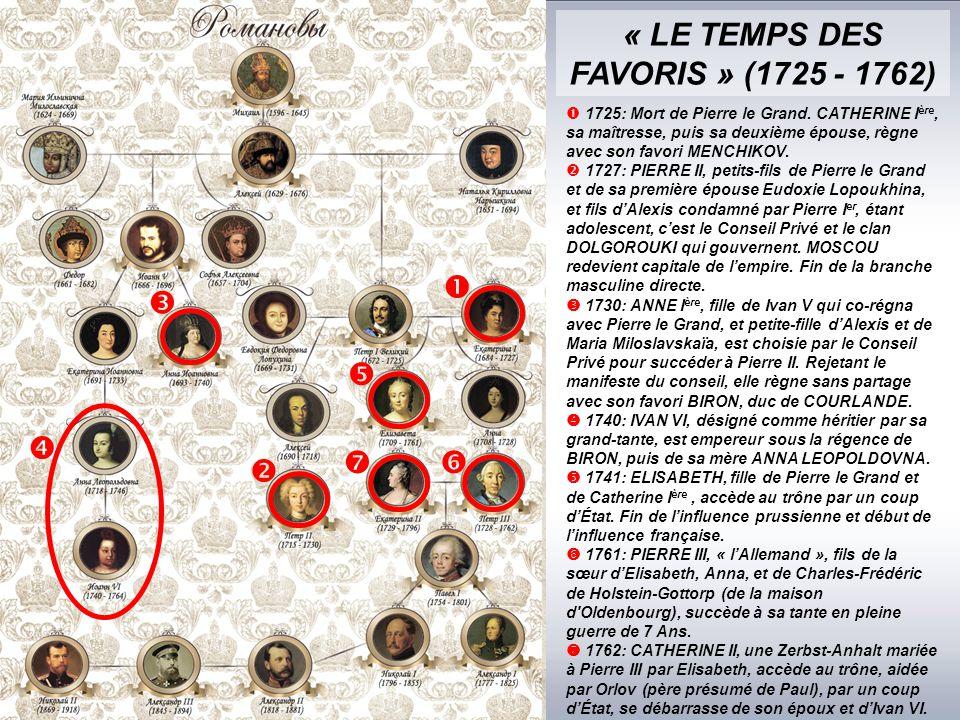 « LE TEMPS DES FAVORIS » (1725 - 1762)