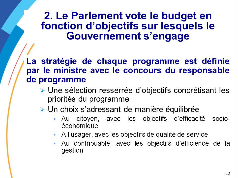 2. Le Parlement vote le budget en fonction d'objectifs sur lesquels le Gouvernement s'engage