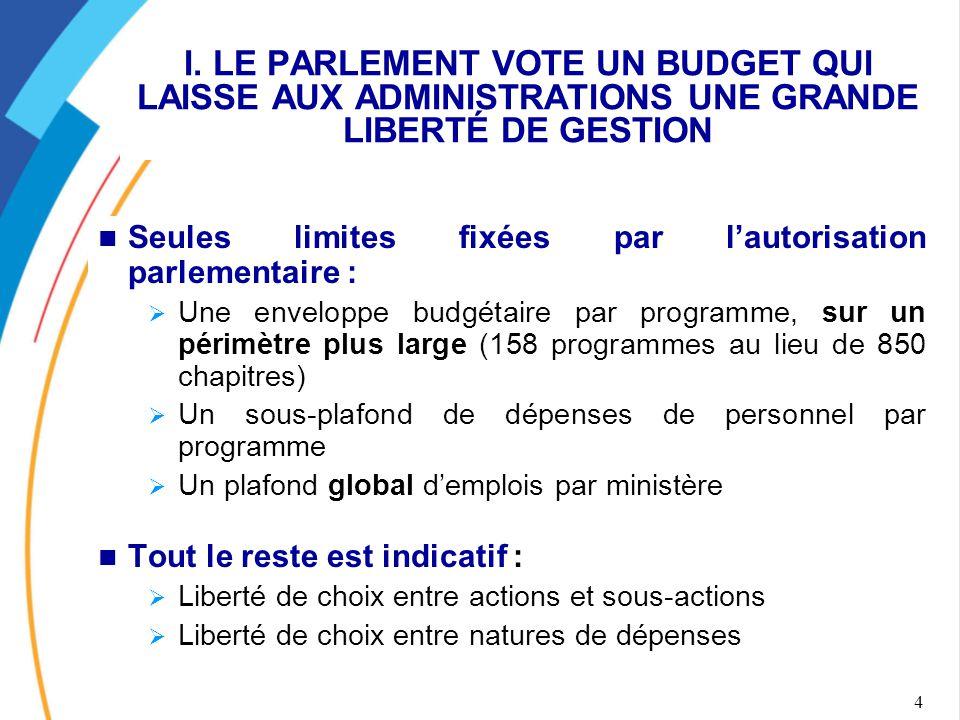 I. LE PARLEMENT VOTE UN BUDGET QUI LAISSE AUX ADMINISTRATIONS UNE GRANDE LIBERTÉ DE GESTION