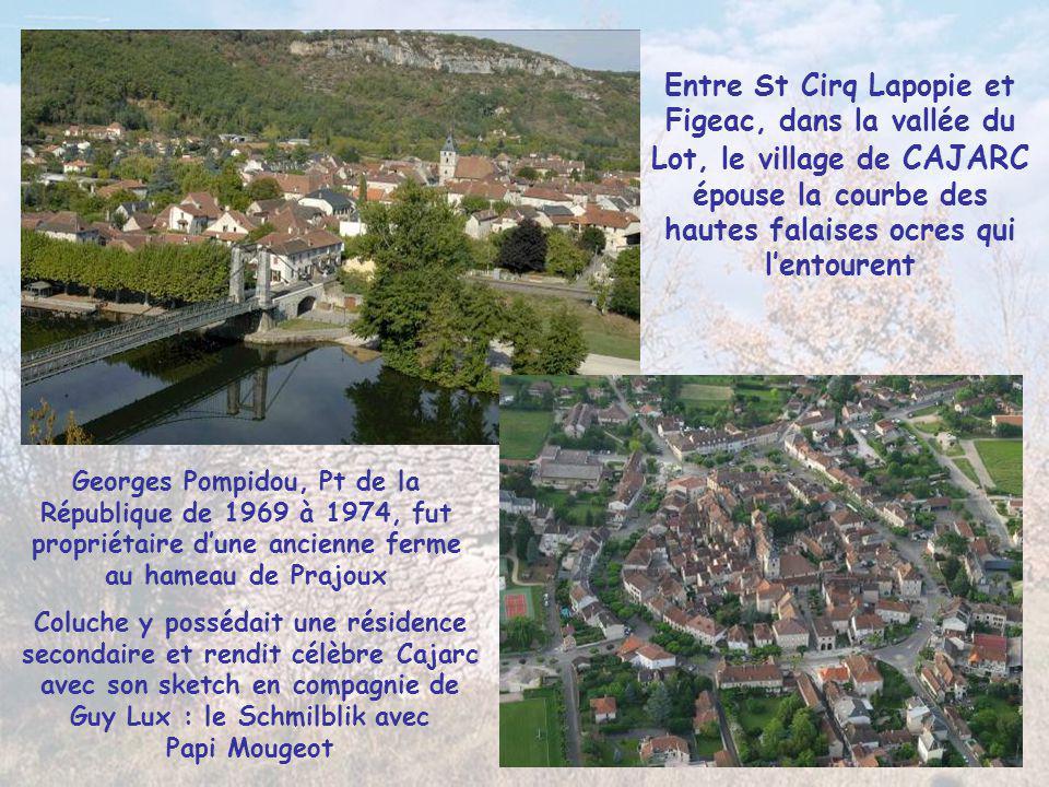 Entre St Cirq Lapopie et Figeac, dans la vallée du Lot, le village de CAJARC épouse la courbe des hautes falaises ocres qui l'entourent
