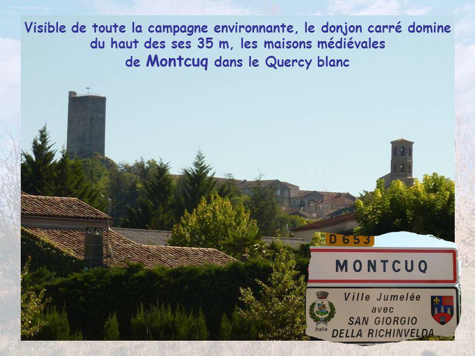 Visible de toute la campagne environnante, le donjon carré domine du haut des ses 35 m, les maisons médiévales de Montcuq dans le Quercy blanc