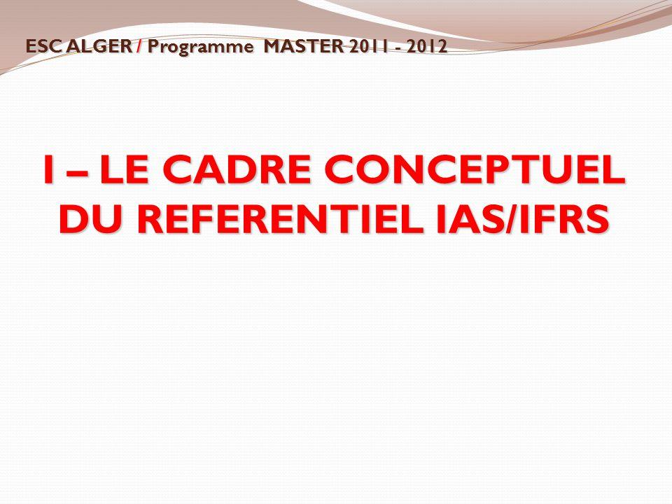 I – LE CADRE CONCEPTUEL DU REFERENTIEL IAS/IFRS