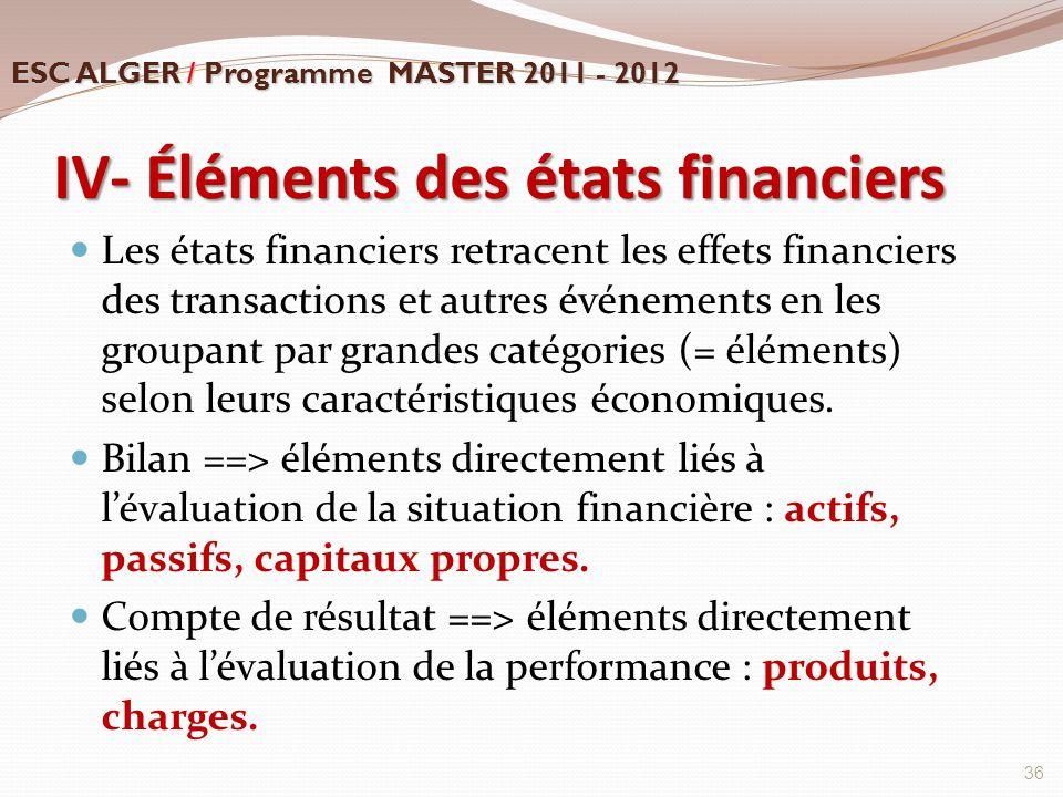 IV- Éléments des états financiers
