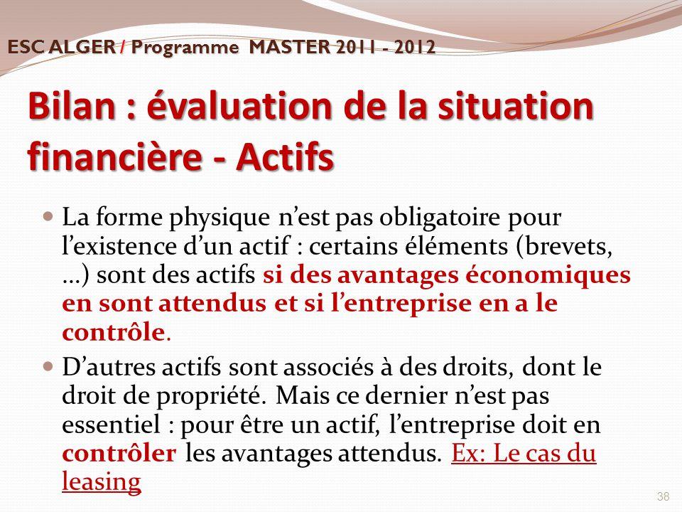 Bilan : évaluation de la situation financière - Actifs